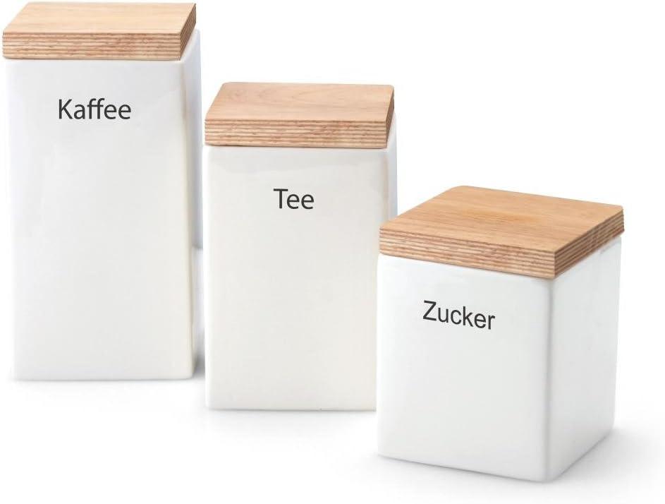 Keramik Continenta Vorratsdose Gummibaumholz Vorratsbox Schwarz 800 ml