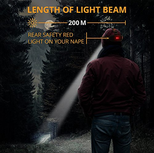 DABASO Rechargeable Headlamp,Adjustable Headband and 90 Degree Moving Light,8000 Lumen Waterproof LED Headlight with 4 Brightness Modes for Running Camping Cycling Fishing Hunting Climbing by DABASO (Image #5)