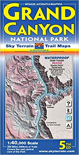 Grand Canyon Trail Map 5th Edition Sky Terrain Kent Schulte