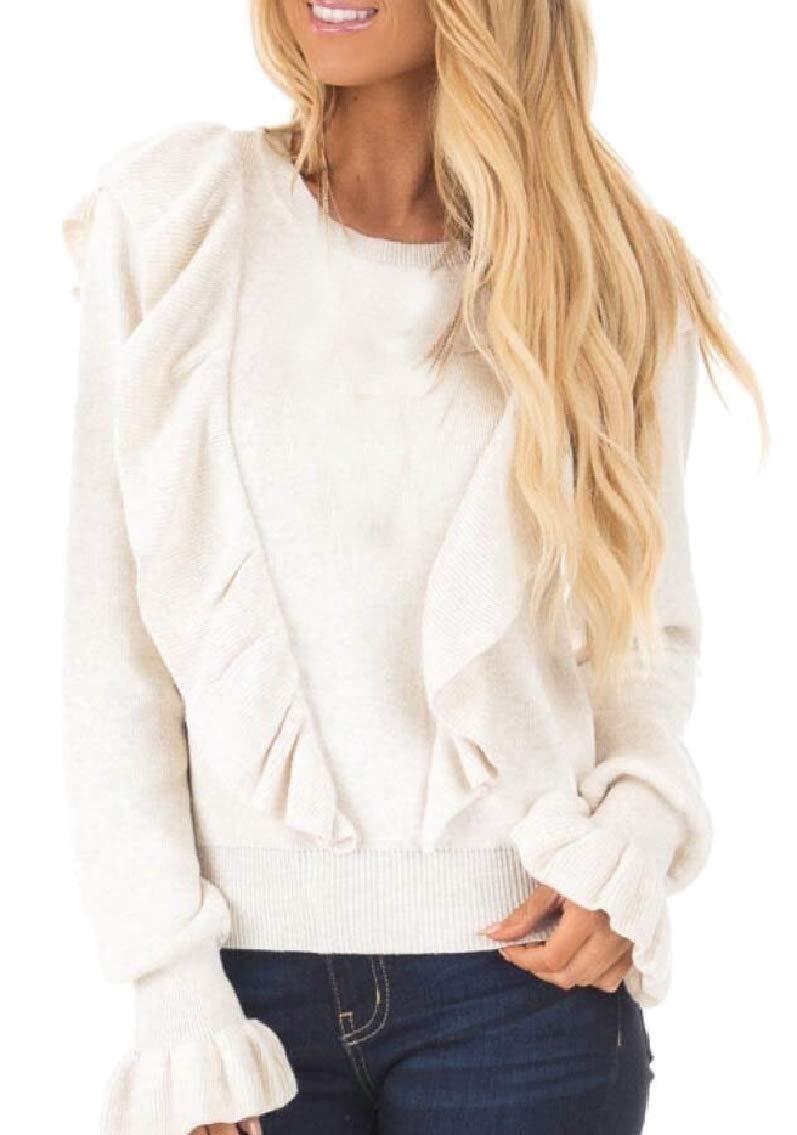 GAGA Women Long Sleeve Rib Ruffle Front Sweater Crewneck Puff Shirt Pullover Cute Tops White M
