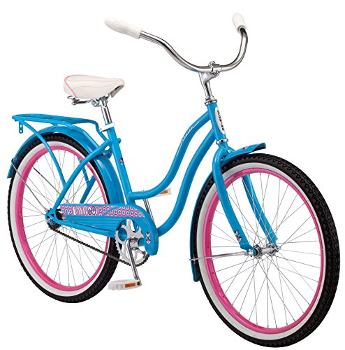Schwinn Baywood Cruiser Bike Line, Featuring Steel Step-Through Frame and Single-Speed Drivetrain with Full Wrap Fenders, 24-Inch Wheels, Bright Blue (Girls Beach Cruisers)