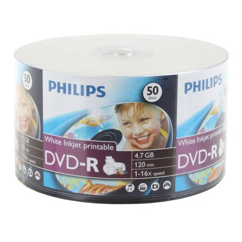 600-pk Philips 16x DVD-R White Inkjet Hub Printable Blank Recordable DVD Disk by Philips