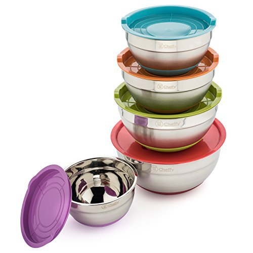 - Cheffy Stainless Steel Mixing Bowls with Lids and Grater Attachments, Set of 5