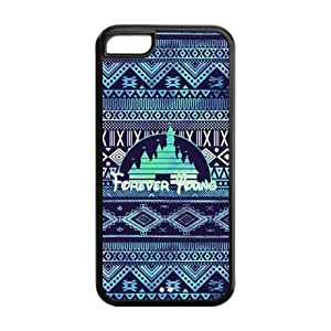 MMZ DIY PHONE CASETPU Case Cover for iphone 5c Strong Protect Case Cute Forever Young Disney Castle Case Perfect as Christmas gift(1)