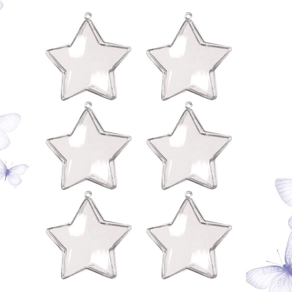 UPKOCH 12 Piezas Bola Transparente de Navidad en Forma de Estrella Bolas Rellenables Botella de Caramelos Esfera de Navidad Bolas Navide/ñas Adorno Decoraci/ón de /Árbol de Navidad