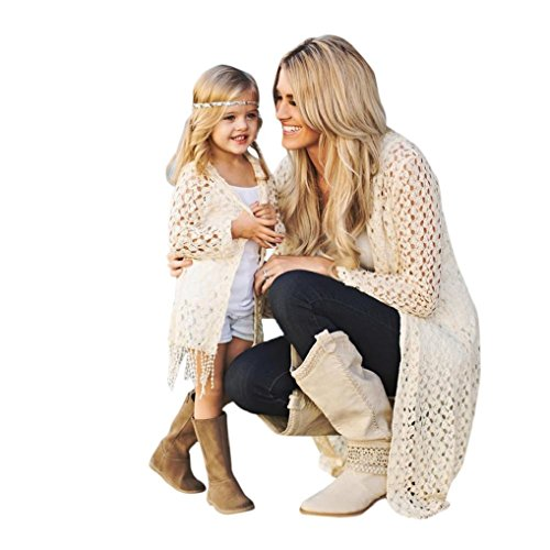Family Matching Shirts Mom and Daughter,Mommy Me Women Girls Loose Hooded Cardigan Top Cover up Blouse Family Clothes Set (White, Girls-7T) ()