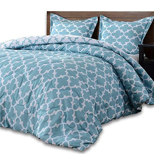 downluxe Lightweight Printed Comforter Set (King,Teal) with 2 Pillow Shams - 3-Piece Set - Down Alternative Reversible Comforter ()