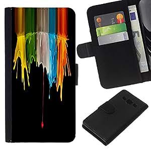 EJOY---La carpeta del tirón la caja de cuero de alta calidad de la PU Caso protector / Samsung Galaxy A3 / --Color Splash Cráneos Cráneo