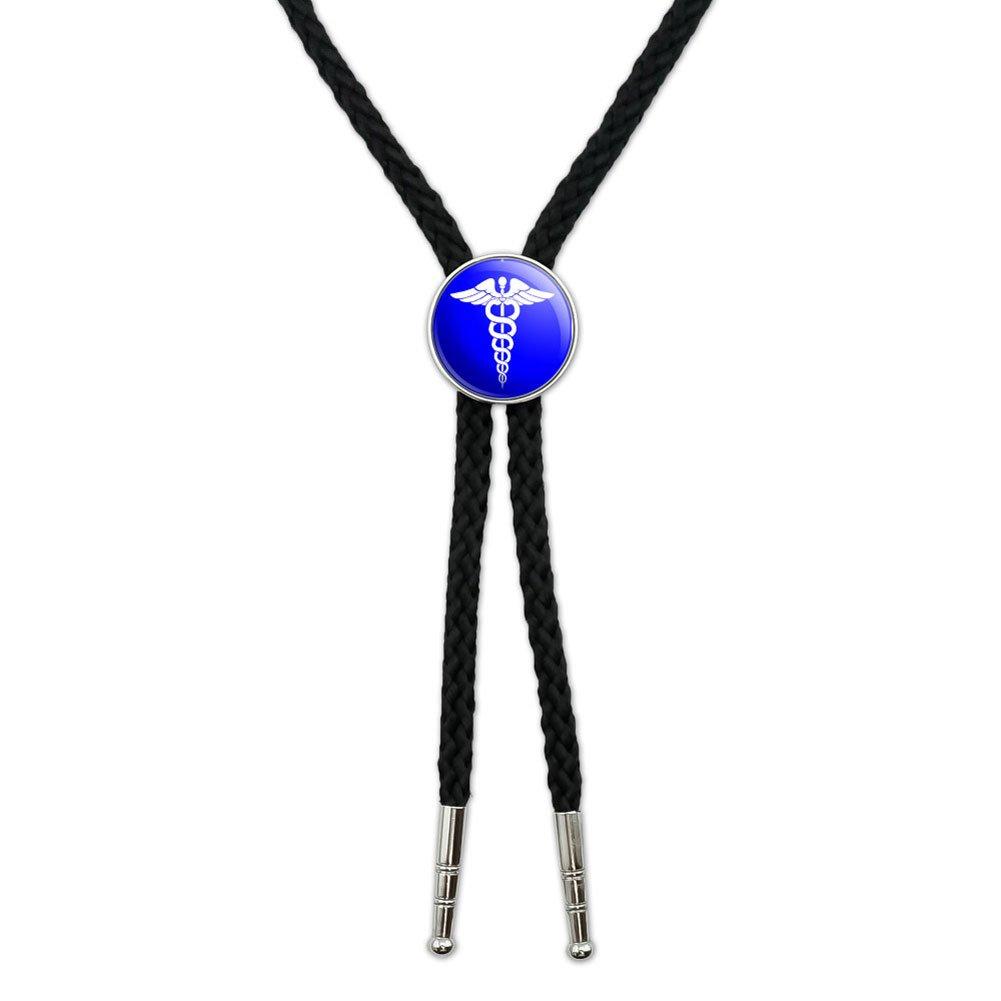 Caduceus Medical Symbol Blue - Doctor MD RN EMT Western Southwest Cowboy Necktie Bow Bolo Tie Graphics and More BOLOTIE.PL.0374