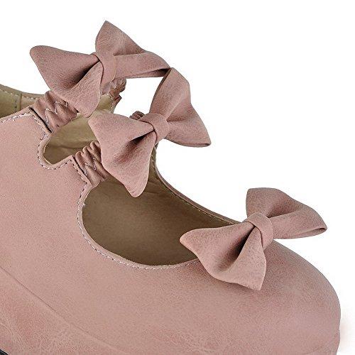 VogueZone009 Damen Ziehen auf Mittler Absatz PU Rein Rund Zehe Pumps Schuhe Pink