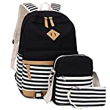 Best Backpack For Teenage Girls - BLUBOON Bookbags Canvas Stripe School Backpack Set Review