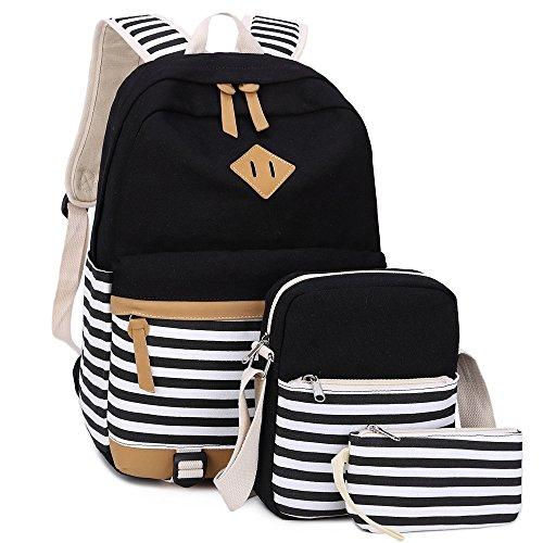 BLUBOON Bookbags Canvas Stripe School Backpack Set for Teens Schoolbags 3 in 1 (Black stripe-3pcs)]()