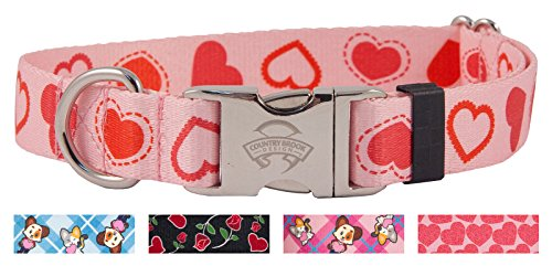 Country Brook Petz | Happy Hearts Premium Dog Collar | Hearts and Valentine's Collection (Medium)