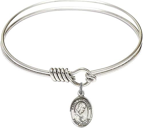 Bonyak Jewelry Oval Eye Hook Bangle Bracelet w//Shamrock in Sterling Silver