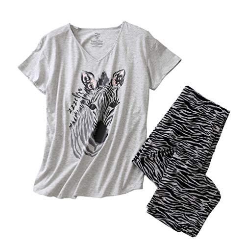 ENJOYNIGHT Women's Sleepwear Tops with Capri Pants Pajama Sets (XX-Large, ZZZebra) (Best Pajama Pants Womens)