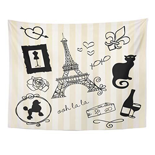 Emvency Tapestry Wall Hanging Black Poodle Paris Doodles French Chat Ooh Noir XOXO Girly Cat 60