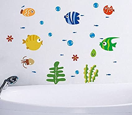 Delicieux Wall Sticker Decal Fishe And Bubble Sea World Kids Bedroom Bathroom Nursery  Daycare And Kindergarten Mural