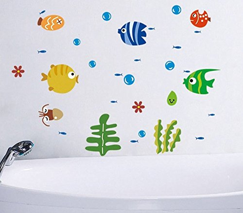 Wall sticker decal fishe and bubble sea world kids bedroom for Carrelage ecaille poisson