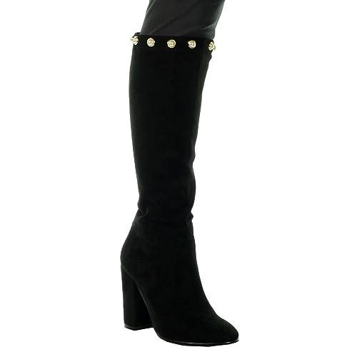 Angkorly Zapatillas de Moda Botas Cavalier Sexy Flexible Mujer Perla Dorado Talón Tacón Ancho Alto 9.5 cm: Amazon.es: Zapatos y complementos