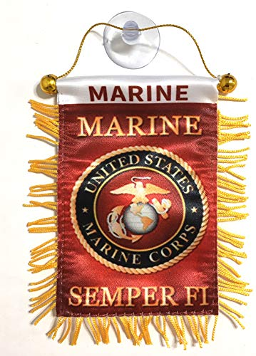 (USMC Marine Semper Fi Flags for car Interior Rearview Mirror or Home Sticks to Windows Glass Quick and Easy Quality Small Hanging Mini Banner Flags car Accessories (Marine))