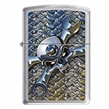 "Zippo ""Socket Spanner-Skull"" Brushed Chrome Lighter, 5086"