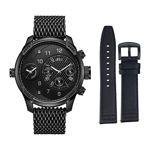 JBW Men's J6355-SetC G3 World Traveler Set 0.16 ctw Black Ion-Plated Stainless Steel Diamond Watch