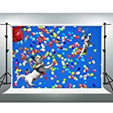 GESEN Blue Sky Backdrop 7X5ft Colorful Balloons Flying Dogs Photography Background for Themed Party Baby Shower Background Video Studio Props SEN578