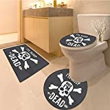 3 Piece Anti-slip mat set Collection Inspirationa about Life Anger Fear Memories Vintage Spiritua Print Fabric Non Slip Bathroom Rugs