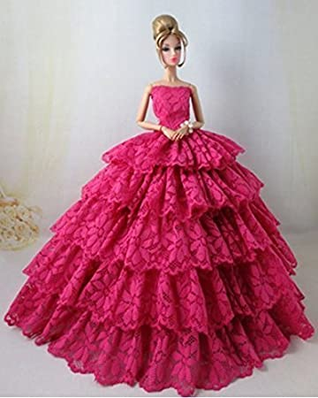 44ccc628cf9 Buy Lanlan Lovely Beautiful Rose Lace Multilayer Evening Party Ball ...