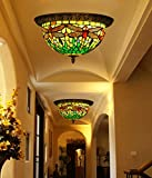 Makenier Vintage Tiffany Style Green Stained Glass Dragonfly Flush Mount Ceiling Light Fixture - 12 Inches Lampshade