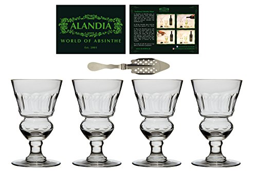Reproduction 19th Century (4x ALANDIA Absinthe-Glasses with Reservoir - Authentic reproduction of the original 19th century Absinthe-Glass Pontarlier - Set includes one free Absinthe-Spoon -)