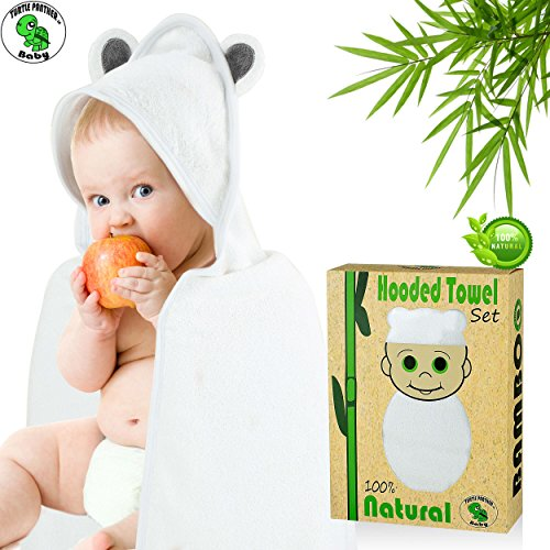 Bamboo Hooded Towel Extra Large for Baby / Toddler- Thicker and Heavier - Keep your Baby Warm - Super Soft - Perfect Gift - Hypoallergenic Bamboo Organic + Washcloth (Gray Ears) - by Turtle Panther