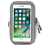 ZZJ Touch Screen Running Armband Water Resistant Neoprene Arm Pouch for Apple iPhone 8 7 Plus/LG V30/G6/Motorola G6/G6 Plus/OnePlus 6 5T 3T/Nokia 5 6 8 7 Plus (Grey)