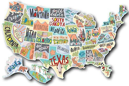 Compare Price: map of the united states sticker - on StatementsLtd.com