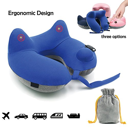 (Inflatable Travel Neck Pillow,Huatop Compact U Shaped Travel Pillows for Airplanes,Car, Train Travel with Packsack (Blue))