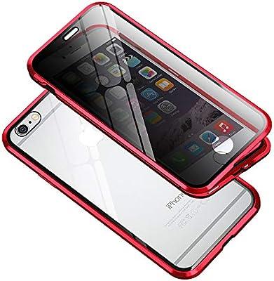 Anti-Spy Funda para iPhone 6 / 6S Carcasa Adsorción Magnética Metal Bumper, E-Lush Funda 360 Grados Proteccion Caso Transparente Privacidad Vidrio Templado Anti espía Cover, Rojo: Amazon.es: Electrónica