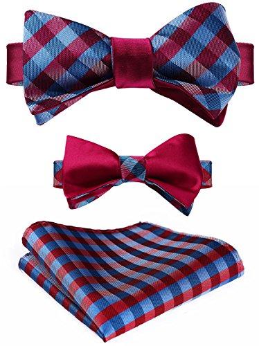 HISDERN Men's Plaid Double Sided Jacquard Self Bow Tie Set