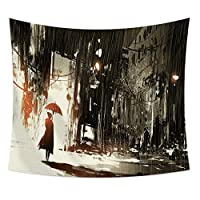 ZGIBD Funny Dinosaurs Tapestry Delicate Cool Ghost Fire Tapestry Modern Abstract Living Room Art Oil Painting Tapestry for Bedroom Living Room College.
