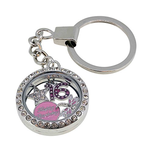 16th Birthday Gift Floating Memory Charm Key Ring With Crystals from Swarovski Gift Boxed - Presents 16th Birthday