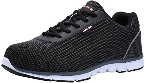 - MODYF Steel Toe Work Safety Shoes Reflective Casual Breathable Outdoor Footwear (7.5, Flying Black)