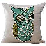 Cartooon Owl Printed Cushion Cover LivebyCare Linen Cotton Cover Throw Pillow Case Sham Pattern Zipper Pillowslip Pillowcase For Festival Christmas Xmas Decorative
