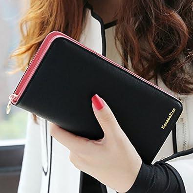 544769990c4e Amazon | 人気 長財布 レディース 大容量 二つ折り 4色 バイカラー ウォレット オシャレ かわいい ラウンドファスナー (ブラック) |  | 財布