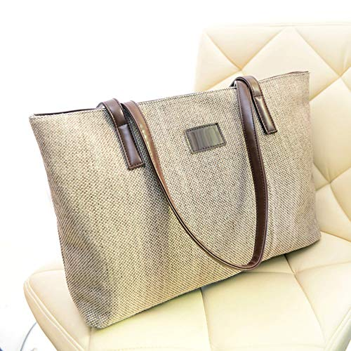 Handbag Casual FEIDA Large Single Shoulder Women's Retro Bag Beige Handbags Tote Capacity Canvas YTqAPOxT