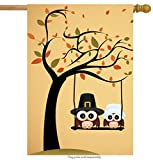 ShineSnow Lovely Cute Owl Tree House Flag 28'' x 40'' Double Sided, Polyester Yellow Funny Thanksgiving Welcome Yard Garden Flag Banners for Patio Lawn Home Outdoor Decor