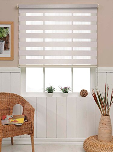 PeakHut Roller Shade Blind for Window Stylish Vertical Curtain in 3 Designs - Bamboo Zebra Roller Shade, MatSun Roller Shade (23x72 Inch, Bamboo-V02)