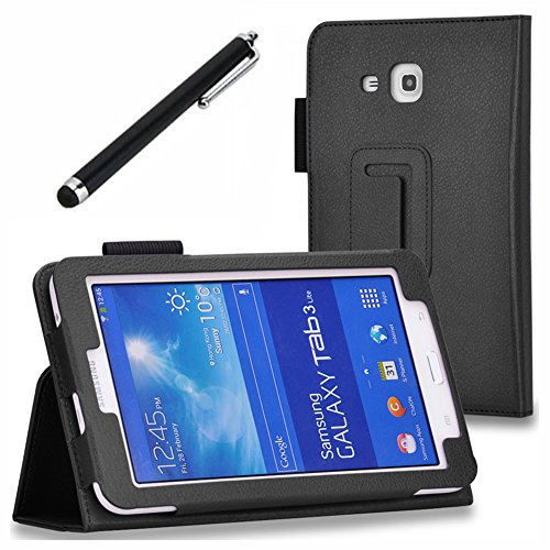 Galaxy Tab 3 Lite 7.0/Galaxy Tab E Lite 7.0 Case - SHEROX Premium Folio Leather Case for Samsung Galaxy Tab 3 Lite 7.0/Galaxy Tab E Lite 7.0 Inch Android Tablet + Free stylus touch pen (Black)