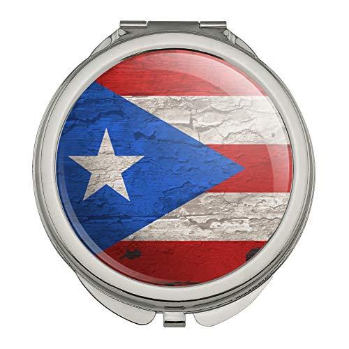Rustic Distressed Puerto Rico Flag Wood Look Compact Travel Purse Handbag Makeup Mirror