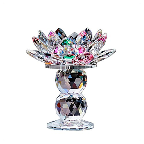 Waltz&F Crystal Lotus Flower Tealight Candle Holder 4.5 Inch,Colorful (Candle Colorful Holders)