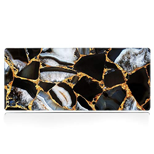 Large Gaming Mouse Pad with Stitched Edge, Gold Black Marble Desk Pad XXL Mouse Pad, Office Desk Mat Non-Slip Waterproof Rubber Base Extended Mouse Mat Keyboard Pad -31.5x11.8 inches