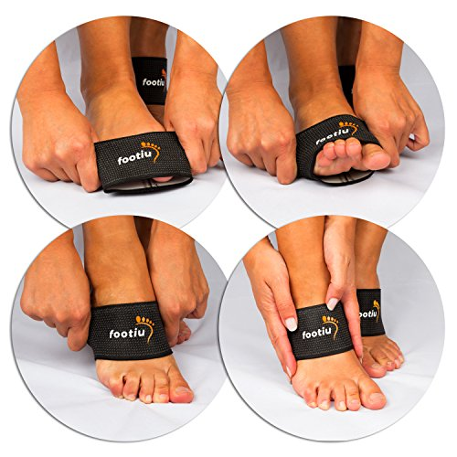 FOOTIU Compression Copper Arch Support Brace - 2 Plantar Fasciitis Sleeves For Pain Relief, Heel Spurs and Flat Feet
